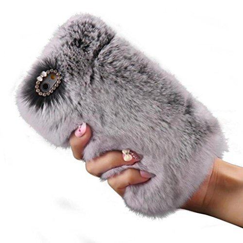 For iPhone 5s Case, Gotd Luxury Crystal Bling Fluffy Villi Fur Plush Wool Design Protective Case Cover for iPhone 5 & iPhone 5S / with Free Pen and Screen Protector (Gray)