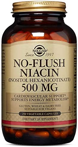 Solgar No-Flush Niacin Vitamin B3 Inositol Hexanicotinate 500 mg, 250 Vegetable Capsules