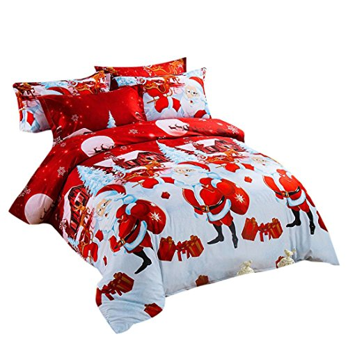 GBSELL 4 Pcs Bed Linen your home Textile Christmas Bedding Set Queen Size Duvet Cover + Bed linen + 2 Pillowcases (D)