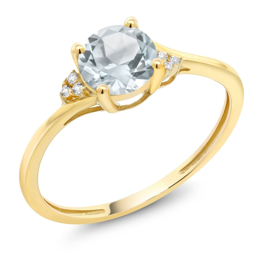 10K Yellow Gold Diamond Accent Engagement Ring Set with 6mm 0.80 Ct Round Sky Blue Aquamarine