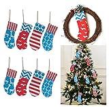 8 Burlap Christmas Stockings Decoration - 8 Pcs Set Print Fireplace Tree Decor Small (each style 2 pcs)