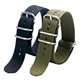 YISUYA 2pcs/lot 20mm G10 NATO Military Nylon Watch Straps with Stainless Steel Pin Buckle Clap, 2.0cm Durable Canvas Fabric Watch Bands