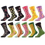 WeciBor Men's Novelty Bright Funny Fruit Food Pattern Colorful Dress Casual Socks Pack,052-63,Large, (Unisex US 7.5-12)
