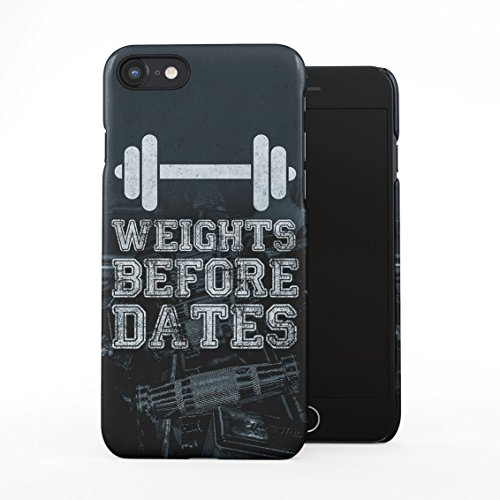 Gym Dumbbell Weightlifting Workout Sport Motivation Weights Before Dates Plastic Phone Snap On Back Case Cover Shell Compatible with iPhone 7 & iPhone 8 (Lifting Motivation)