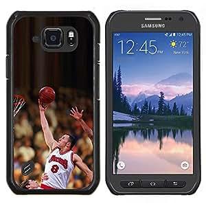 Qstar Arte & diseño plástico duro Fundas Cover Cubre Hard Case Cover para Samsung Galaxy S6Active Active G890A (Raiser 8 Baloncesto)