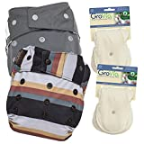 GroVia Experience Package: 2 Shells + 4 Organic Cotton Soaker Pads (Color Mix 10 Snap)