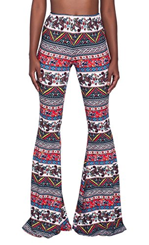 Paisley Print Bell - WFTBDREAM Women Print Stretch Waist Wide Leg Palazzo Lounge Pants Comfy S (Long Length)