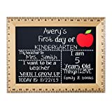 First Day of School Chalkboard, Reusable Sign Board with Real Wooden Ruler Frame, Solid Red Apple, Handmade in USA
