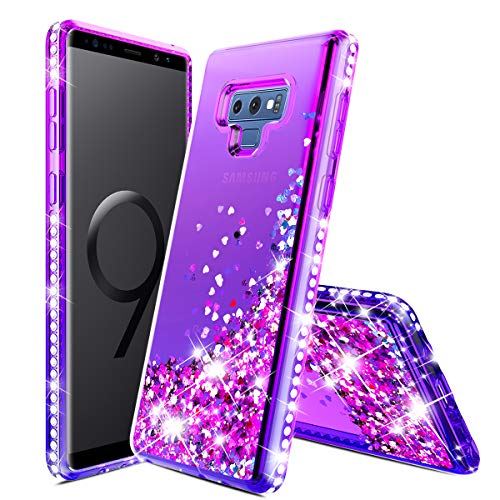 Samsung Galaxy Note 9 Case,Donse Glitter Liquid Quicksand Floating Shiny Sparkle Flowing Bling Diamond Luxury Clear Cute Case Girls Women Note 9,Purple/Blue