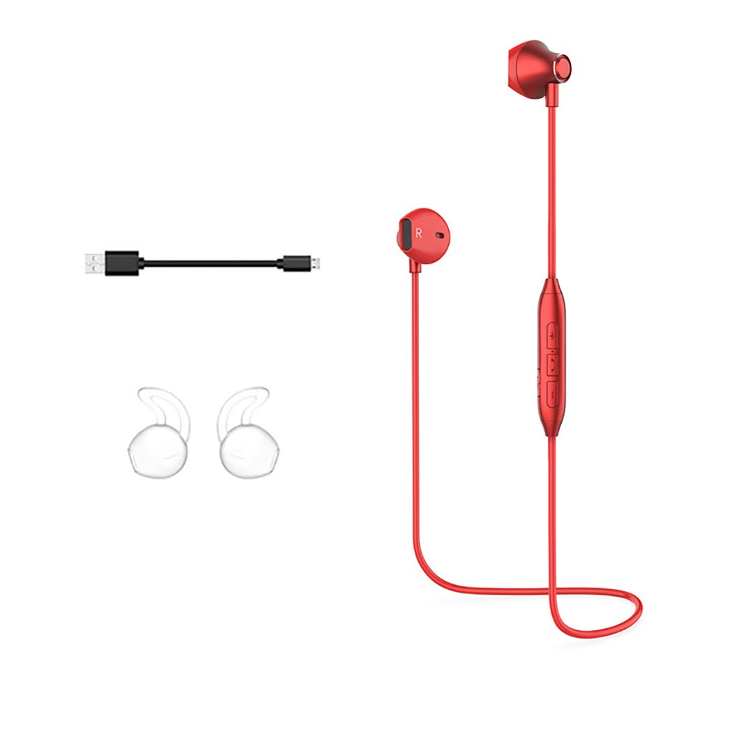 Sports Bluetooth Headset with Microphone,Lightweight and Sweatproof,HD Voice Call (Color : Red)