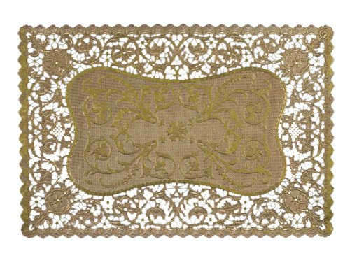 Royal Rectangular Foil Placemats, 9.75 x 14.5 Inches, Gold, Pack of 6 (26516) (Bread Lace Gold)