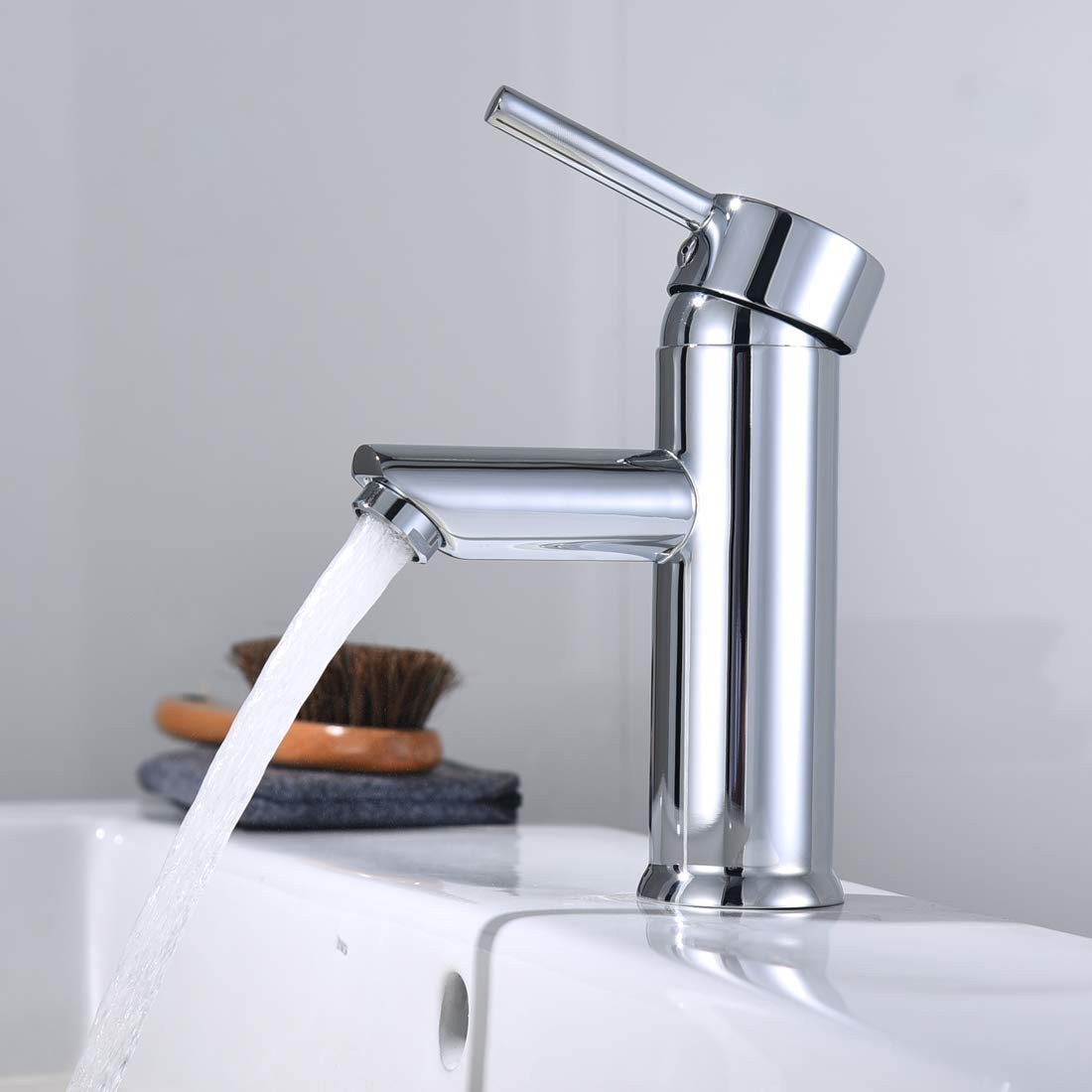 Crush Washbasin Faucet Solid Brass Hot and Cold Mixer Taps Finished Chrome Cloakroom Washroom Single Lever Basin Mixer Tap Lavatory Bathroom Vanity Sink Faucet