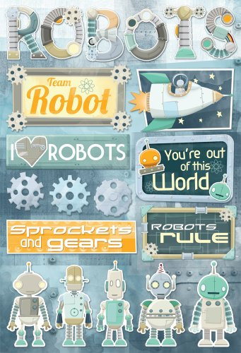 Price comparison product image Karen Foster Design Acid and Lignin Free Scrapbooking Sticker Sheet, Robots