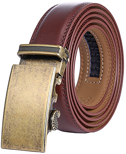 Marino Men's Genuine Leather Ratchet Dress Belt With Automatic Buckle, Enclosed in an Elegant Gift Box - Gold Vintage - Adjustable from 28