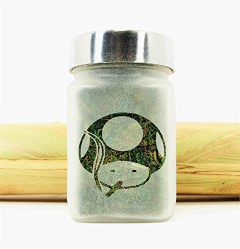 Stoner Power Up Mushroom Etched Glass Stash Jar (Marijuana Plastic Jars compare prices)