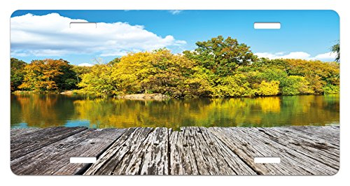 (Lunarable Landscape License Plate, New York City Central Park in a Autumn Day Near a Bay with River, High Gloss Aluminum Novelty Plate, 5.88