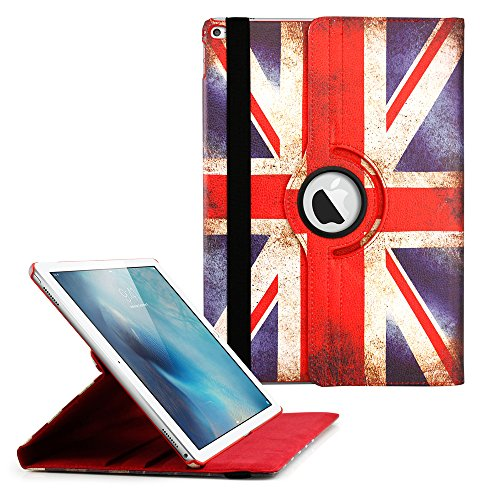 360 Degree Rotating PU Leather Case with Sleeping Function Smart Stand Swivel Cover for iPad Pro - England Flag (Shark Keyboard Ipad Air 2)