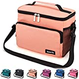 Leakproof Reusable Insulated Cooler Lunch Bag - Office Work Picnic Hiking Beach Lunch Box Organizer with Adjustable Shoulder Strap for Women,Men-Orange