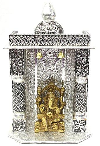 AMBA HANDICRAFT wooden oxidized hindu temple for home and office. Shrine altar mandir pooja prayer faith Diwali festival / wedding decoration / indian temple 003 by Amba Handicraft