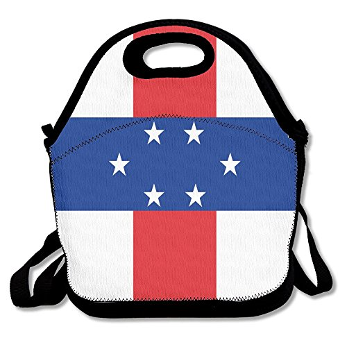 Note Antilles Netherlands (FutongHuaxia Flag Of The Netherlands Antilles Outdoor Lunch Bag Lunch Box Thermal Insulated Cooler Lunch Pouch Picnic Bag For School Gift)