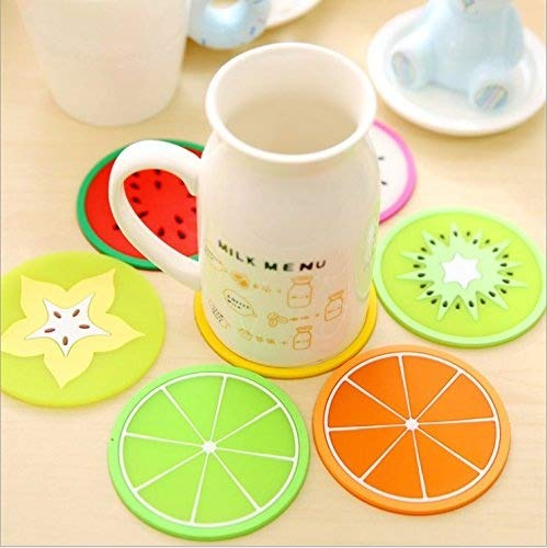 TripodGo Non Slip Fruit Coasters for Drinks Cute Coasters Silicone Coasters Car Cup Holder Coaster 7 Type 14 Pack Fruit Coasters