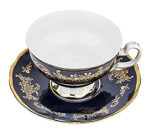 "Fine Porcelain ""Royal Blue"" Tea Cup and Saucer Set, Vintage Royal Coffee Cup Set, Ceramic Breakfast Tea Service, 6 Cups + 6 Saucers"