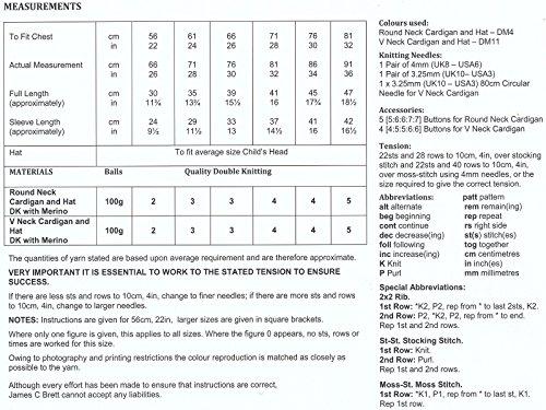 James Brett Double Knitting DK Pattern Girls Round V Neck Cardigan Hat JB182
