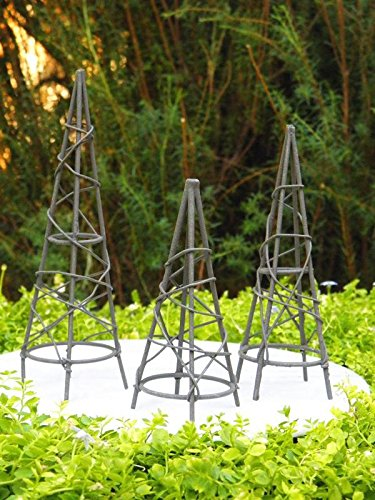 My Fairy Gardens Miniature Furniture - Rustic Iron Set / 3 Obelisk Trellis - Mini Dollhouse Supply Expressions (Garden Furniture Obelisk)