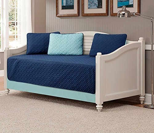 Linen Plus 5pc Daybed Cover Set Reversible Embossed Bedspread Navy Blue/Light Blue New