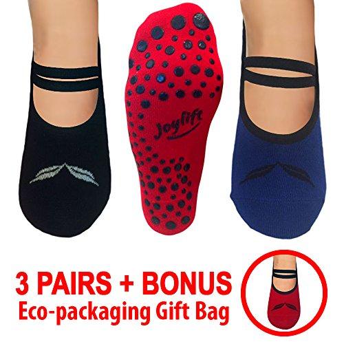 Barre, Pilates, Yoga, Exercise, Grip Socks. Non-slip Bottoms. Cute Non-skid Slipper Socks. 3 Pairs + Bonus Organza Gift Bag for Christmas Gifts (Blue, Black, Red)