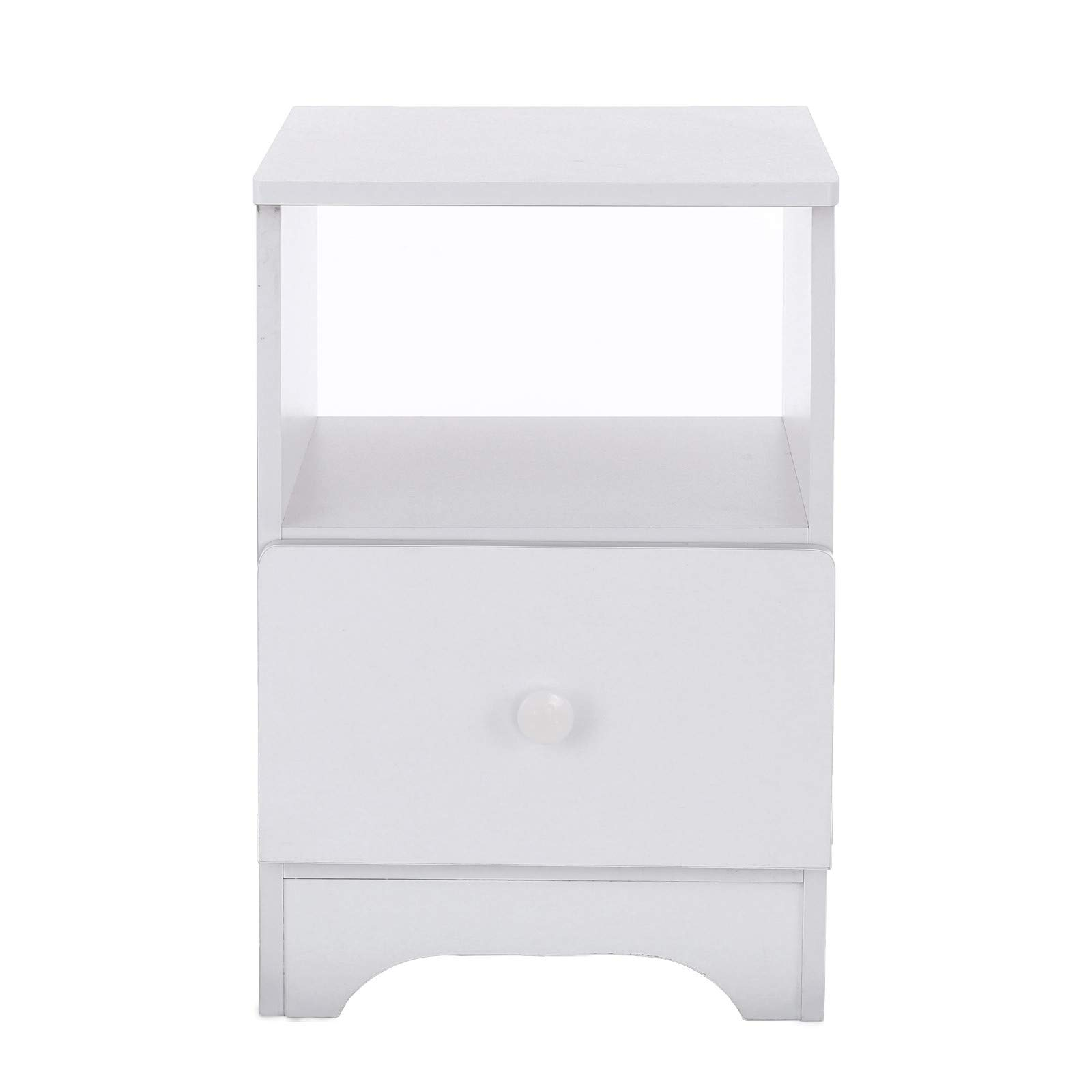 Fullwei Bedside with Double Drawer,Assemble Storage Cabinet Bedroom Nightstand Locker Solid Wood Living Room Furniture - Delivered Within 7 Days (White)