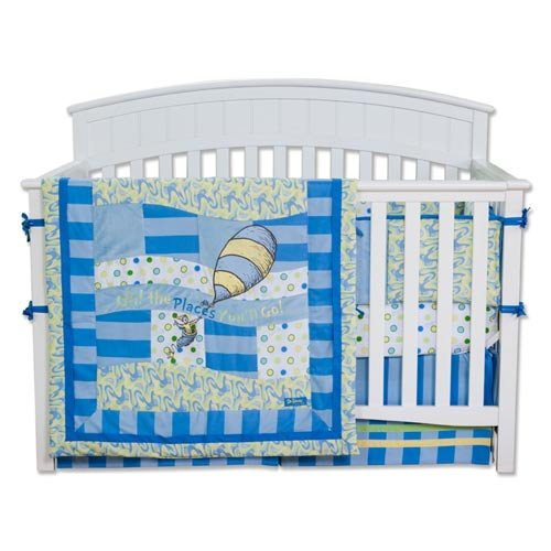 Dr. Seuss Oh The Places You''ll Go 4 Piece Crib Bedding Set Color: Blue