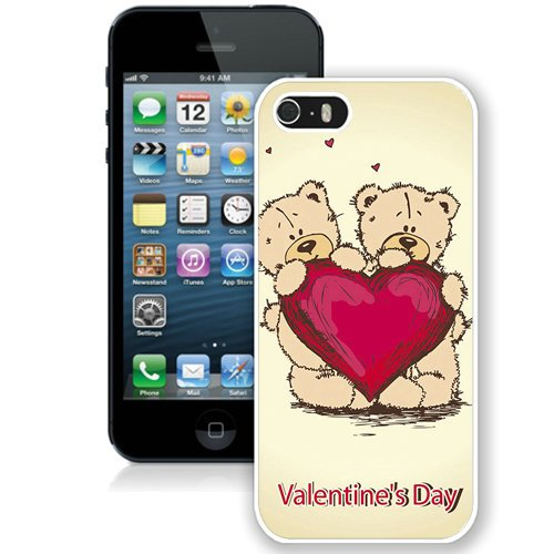 Coque,Fashion Coque iphone 5S Cute Bears Heart Valentines Day blanc Screen Cover Case Cover Fashion and Hot Sale Design