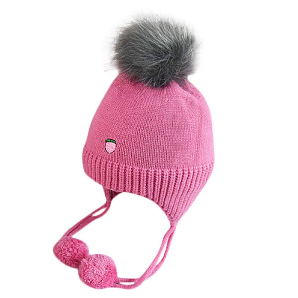 1ec29dfad38 Amazon.com  Fheaven Newborn Baby Girls Winter Hat Fruit Print Knitting Warm  Earflap Kids Pompom Hat Cap (Hot pink)  Beauty