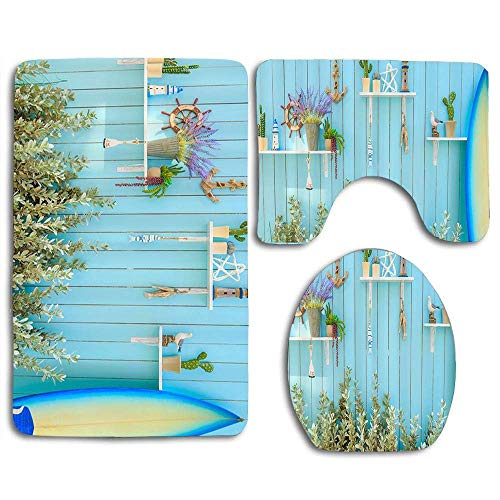 YGUII Blue Beach Homes Wall with Lighthouse and Plants on Shelf Wall and Blue Surfboard Bathroom 3 Pieces Set (1 Bath Rug, 1 Contour Mat, 1 Lid Cover) with Non-Slip