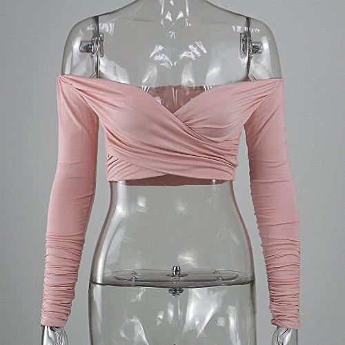 SKY Especially !!Mujer delgada tapas delgadas Off Shoulder Top Long Sleeve Crop Blouse Rosado