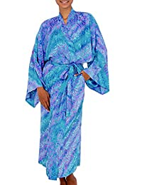 NOVICA Blue Batik Lightweight Rayon Robe, 'Ocean Symphony' (One Size Fits Most)