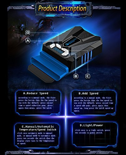 Crazy Genie Newest Mini LED Vacuum USB Cooling Cooler Fan for Laptop, Notebook,Tablet Computer for 12 14 15.6 17 inch Dell Lenovo Asus Acer HP Hasee Sony Toshiba Samsung Notebook Laptop Computer and others by Crazy Genie (Image #2)