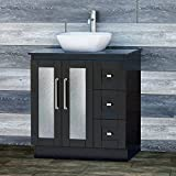 Elimax's Solid Wood 30'' Bathroom Black Oak Vanity Cabinet Black granite Top Vessel sink B3021BL