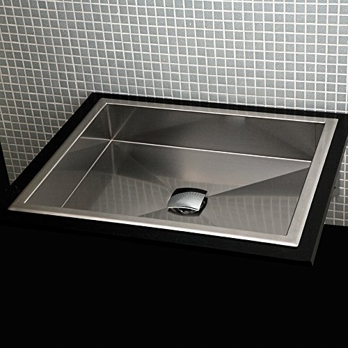 Under-counter or self-rimming lavatory without an overflow. 16 gauge stainless steel . W: 17