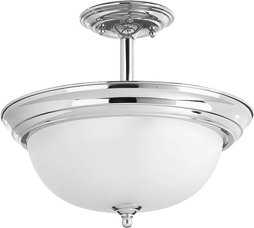 Progress Lighting Dome Glass 1-Light Polished Chrome Flushmount w// Etched Glass