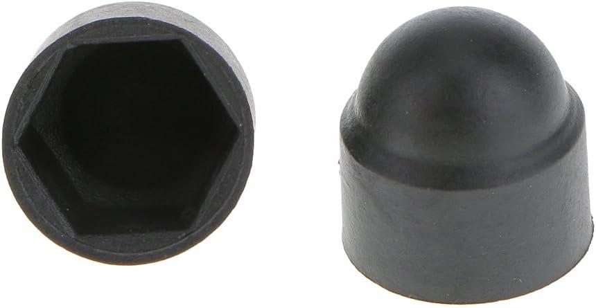 SDENSHI 10 Pcs Nut and Bolt Covers M6 M8 M10 Black Plastic Dome Bolt Nut Hex Hexagon Protection Caps Cover M6x10mm 4 Sizes Optional