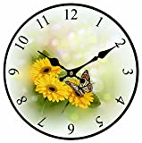 Toright Vintage Home Decoration Romantic Natural Blingbling Sunflower and Cute Butterfly Wooden Wall Clock 14inch