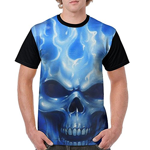 Men's T-Shirt Blue Flames Skull Short Sleeve Tee 3D Graphic Printed Tank, Multicolor