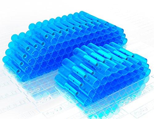 MONOLIT 100pcs BLUE HEAT SHRINK BUTT CONNECTORS, Waterproof Marine Automotive Wire Electrical Connector Kit, 14-16 AWG