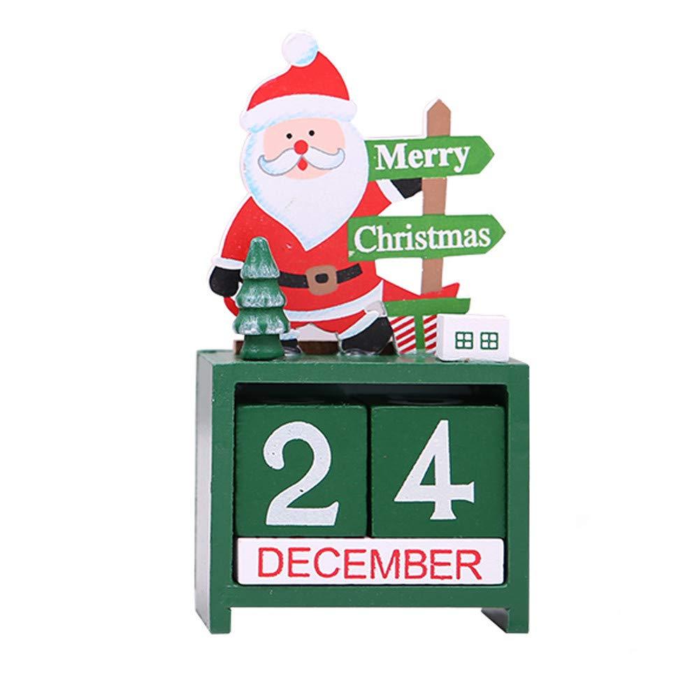 Christmas Countdown Wood Blocks, Snowman/Santa Claus/Reindeer Days Until Christmas Mini Wooden Advent Calendar - Perfect Christmas Holiday Home Decor Gifts (Santa Claus)