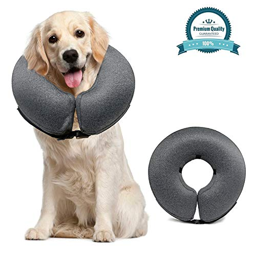 MIDOG Pet Inflatable Collar for After Surgery,Soft Protective Recovery Collar Large Dog Cone for Dogs to Prevent from Touching Stitches, Wounds and Rashes, Does Not Block Vision E-Collar.