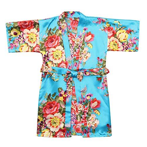 - VEFSU Toddler Baby Kid Girls Floral Silk Satin Kimono Robes Kids Wrap Bathrobe Sleepwear Clothes Light Blue 5-6 Years