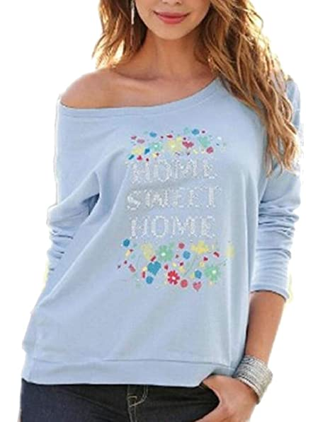 de0b082649cc ouxiuli Women s Summer Casual Floral Shirt Long Sleeve Tops Crewneck Blouse  Tee ...