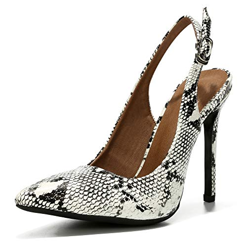 LIURUIJIA Womens Office Basic Slip on Pumps Slingback Stiletto High-Heel Pointy Toe Shoes for Party Dress Black&White Snake-41 (255/US8.5)